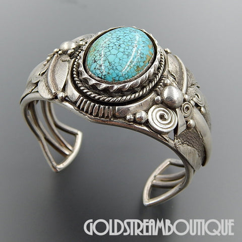 Native American Ben Begaye Navajo Sterling Silver Number 8 Turquoise Feathers Heavy Cuff Bracelet