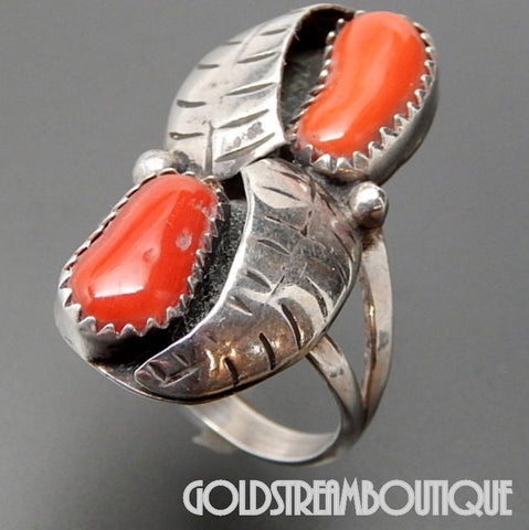 Native American Navajo Sterling Silver Red Apple Coral Feathers Shadowbox Design Ring - Size 6.5