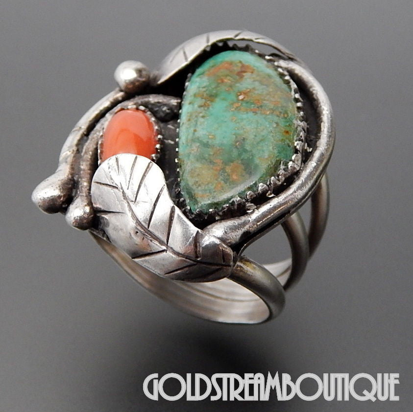 Native American Old Pawn G Lucero Cochiti Sterling Silver Green Turquoise & Coral Feathers Ring - Size 6.25