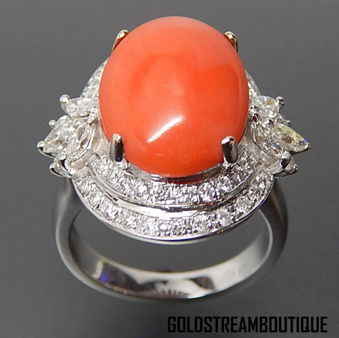 18k White Gold Oval Genuine Coral & 2.65 Tcw Diamonds Cocktail Ring - Size 7.75