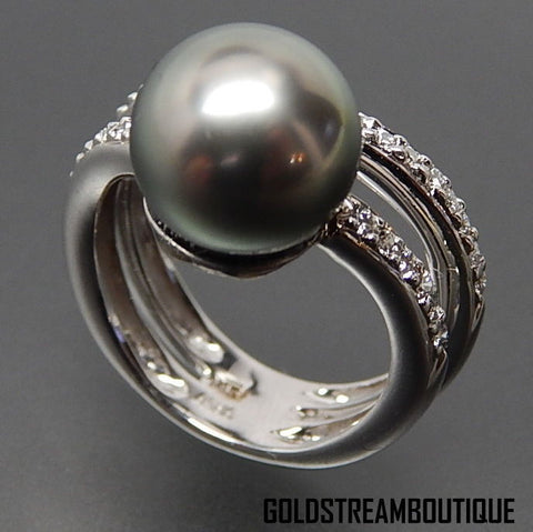 Asba 14K white gold high quality Tahitian 10mm pearl & 1.15 Tcw diamonds ring - size 4.75