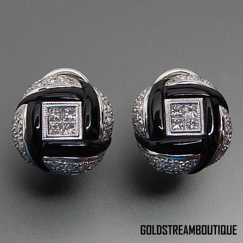 18k White Gold Black Onyx & 1.5 Ctw Diamonds Round Omega Clip Back Earrings