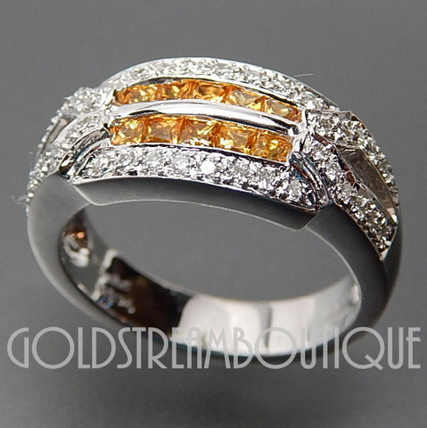 18k White gold 0.59 Ctw yellow sapphire & 0.31 Ctw diamonds wedding band ring - size 6.75