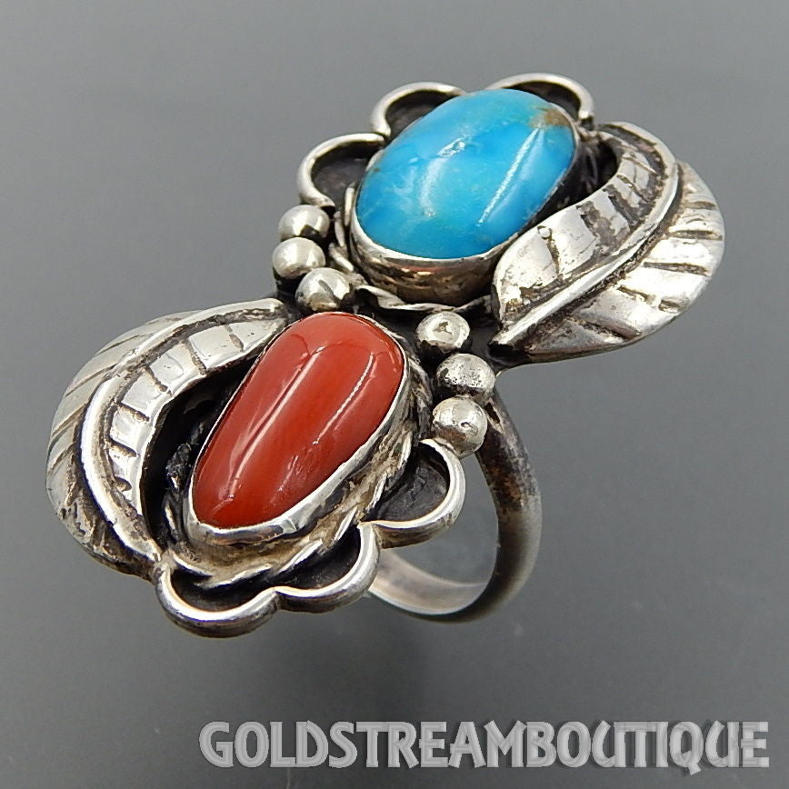 Native American Old Pawn Navajo Sterling Silver Coral Turquoise Feathers Elongated Ring - Size 10.25