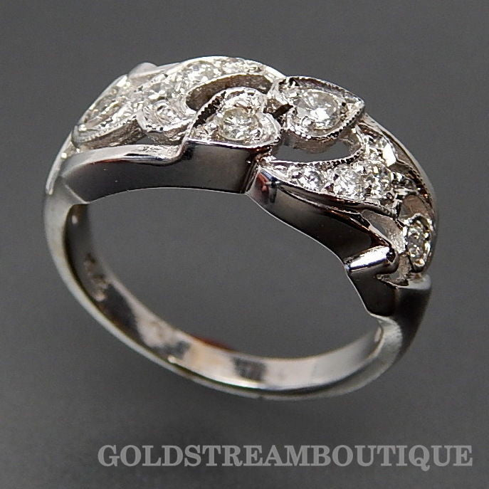 Marvelous 14k white gold 0.45 tcw diamonds bypass hearts ring - size 6.25