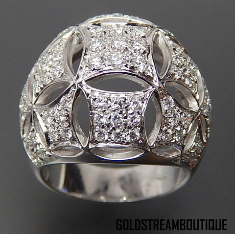 Marvelous 18k white gold 1.76 tcw diamonds snowflake design dome ring - size 7