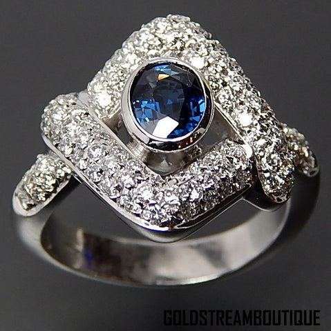 18k White gold 0.98 Tcw sapphire & 1.28 Tcw diamonds evil eye cocktail ring - size 7