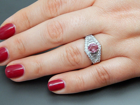 Platinum 1.12 Ctw Pink Sapphire & 1.01 Ctw Diamonds Engagement Cluster Ring - Size 6