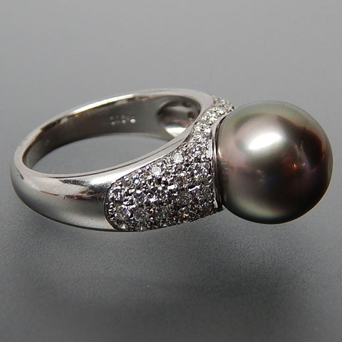 Platinum 0.55 Ctw Diamonds & 11.3 Mm Grey Tahitian Pearl Statement Ring - Size 6.25