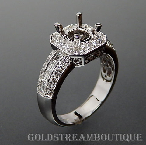 18k White Gold 1.14 Tcw Diamond 0.8-2 Tcw Center Diamond Set Engagement Ring - Size 6.25