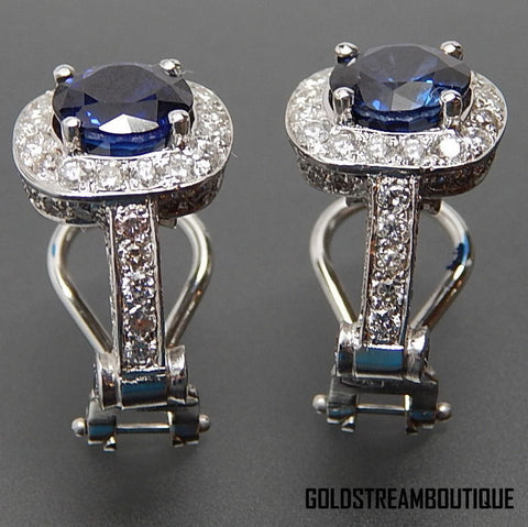 Fancy 18k white gold 4.40 ctw diamonds & faux sapphire omega clip back earrings