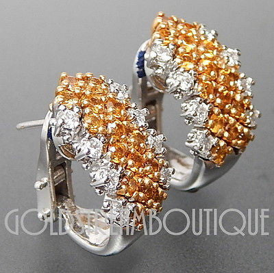 Beautiful 18k white gold 0.60 Ctw diamonds & yellow sapphire omega back earrings
