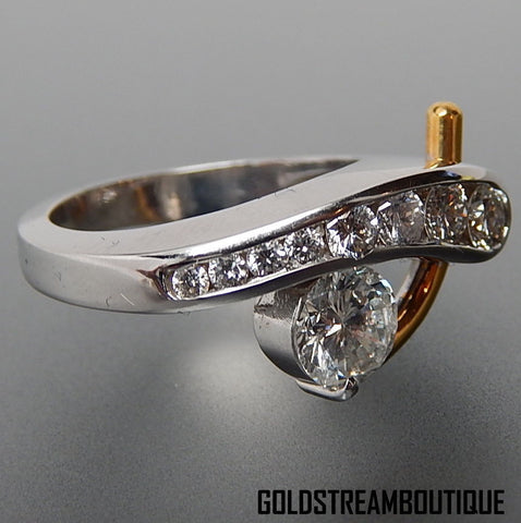 18k White & 22k yellow gold 2.80 Tcw diamonds abstract design cocktail ring - size 6.5
