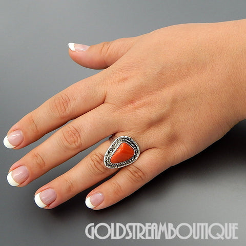 Native American Navajo Sterling Silver Genuine Coral Rope Ethnic Stamp Work Triangle Ring Size 8.75