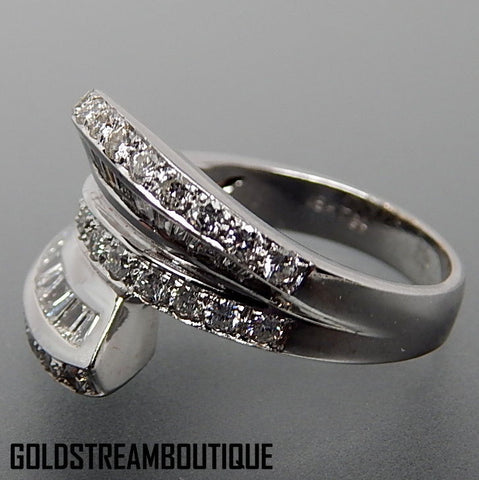 18k White Gold 2.38 Tcw Diamonds Bypass Solar Abstract Wedding Ring - Size 7.25
