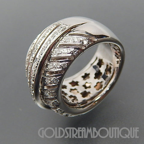 Alessandria Italy 18k White Gold 0.85 Tcw Diamonds Galactic Wide Wedding Ring - Size 6