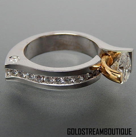 18k White & 22k yellow gold 2.50 Tcw diamonds abstract design cocktail ring  - size 6.75