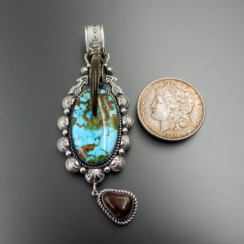 Handcrafted sterling silver large oval turquoise bear claw fire agate massive pendant