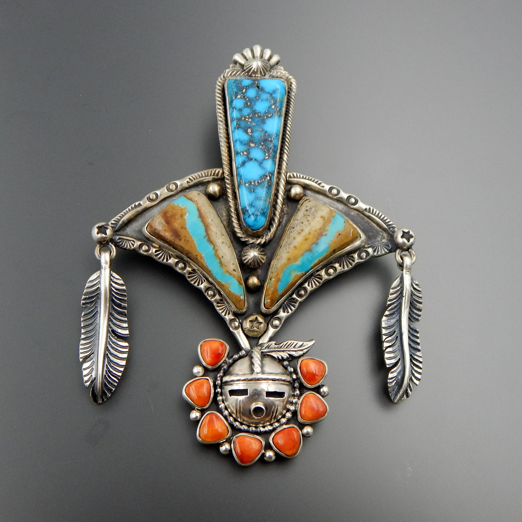 Handcrafted sterling silver Ithaca  turquoise spiny oyster feathers sun face Kachina pendantant wow