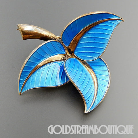ALBERT SCHARNING NORWAY 925 S STERLING SILVER BLUE ENAMEL LEAVES BROOCH PIN