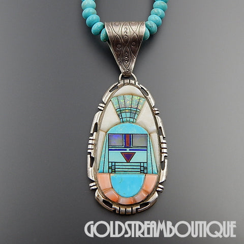 Native American Danny Clark Lester James inlay navajo sterling silver gemsone inlay necklace