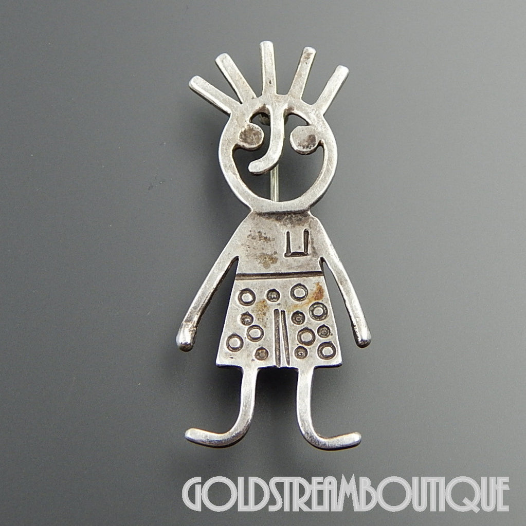 SIGNED DJI STERLING SILVER ARTISTIC GIRL BACK TO SCHOOL BROOCH PIN