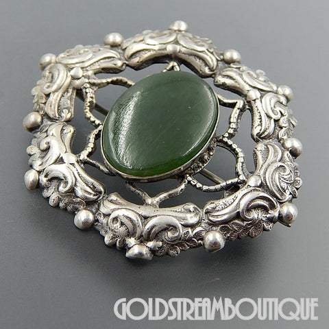 VINTAGE 925 STERLING SILVER OVAL JADE ART NOUVEAU ORNATE BROOCH PIN