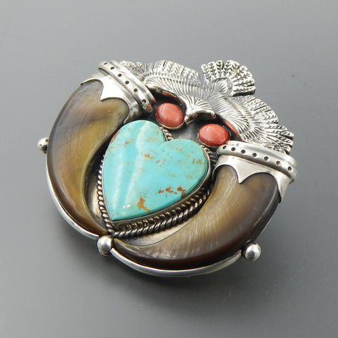 Handcrafted sterling silver heart shaped turquoise spiny oyster bear claws eagle pendant brooch