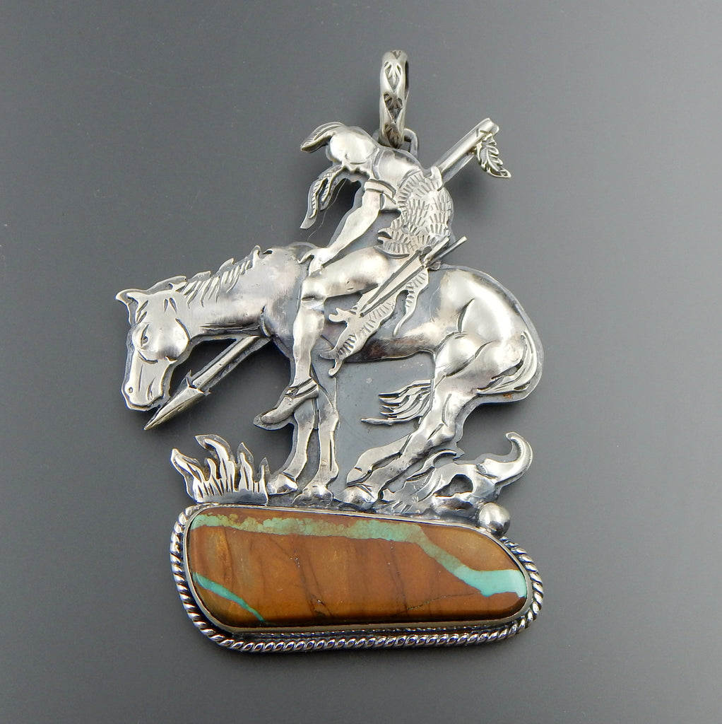 "Superior museum quality handcrafted sterling silver ribbon turquoise ""End of the trail"" pendant"