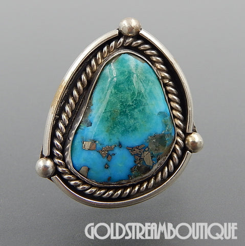 NATIVE AMERICAN VINTAGE NAVAJO STERLING SILVER AMAZING AMERICAN TURQUOISE ROPE STATEMENT RING - SIZE 8.5