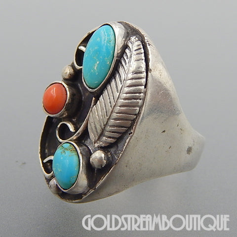 NATIVE AMERICAN VINTAGE NAVAJO STERLING SILVER TURQUOISE CORAL FEATHER WIND SWIRLS OVAL RING - SIZE 11.5