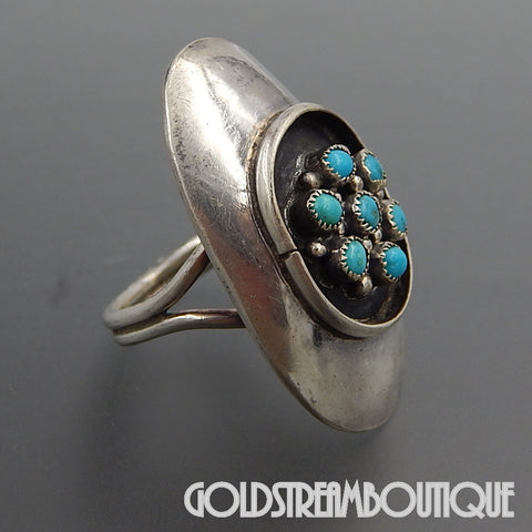 NATIVE AMERICAN VINTAGE ZUNI 925 SILVER SNAKE EYE TURQUOISE FLOWER OVAL SADDLE RING - SIZE 6.75