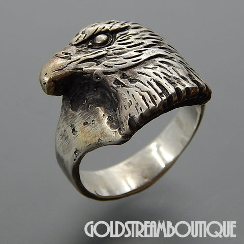 VINTAGE HANDCRAFTED STERLING SILVER RIDGED EAGLE MEN'S RING - SIZE 11.5