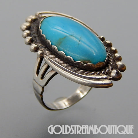 Maisels Indian trading post sterling silver oval turquoise southwestern ring size 5.5