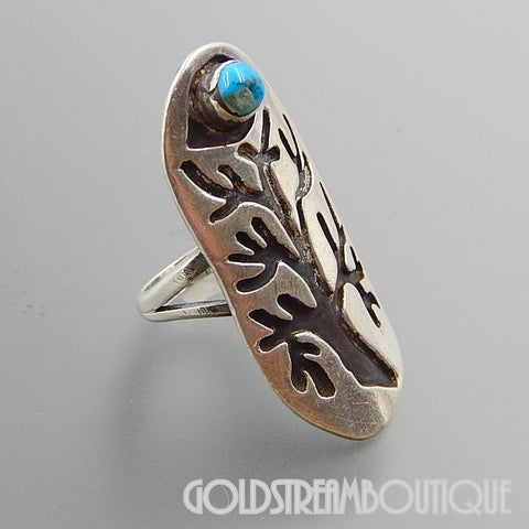 Native American Melvin Thompson navajo sterling silver turquoise evil eye life tree long ring - size 7.25