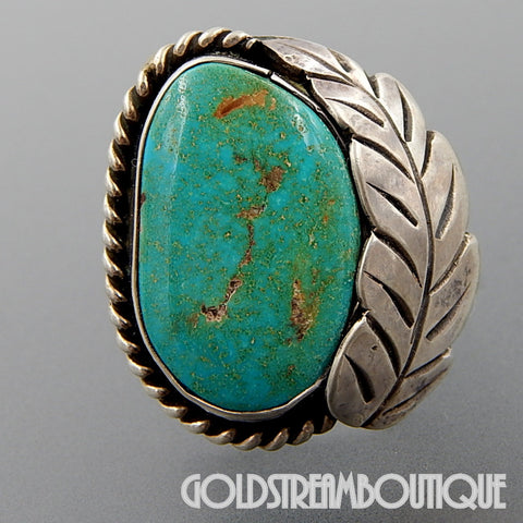 Native American Monroe Ashley navajo sterling silver green turquoise feather ring - size 6.25