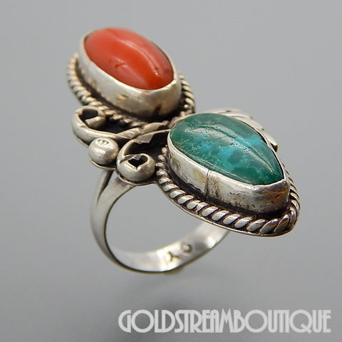 NATIVE AMERICAN CHRIS YAZZIE NAVAJO STERLING SILVER GREEN TURQUOISE & CORAL ELONGATED RING - SIZE 8.5