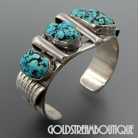 Vintage Native American Navajo Kenny John Turquoise Naggets Sterling Silver Cuff Bracelet 7.125""