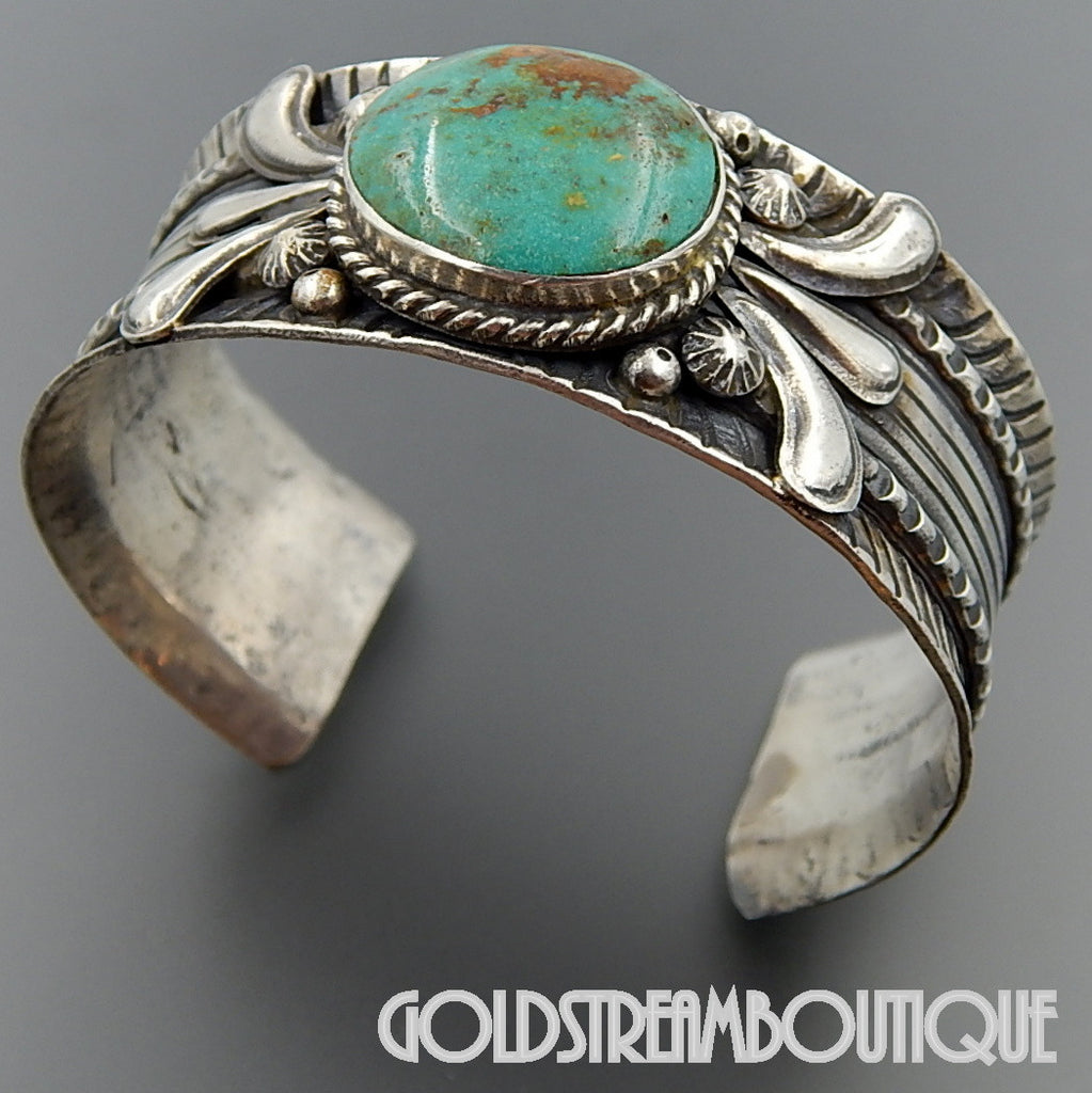 NATIVE AMERICAN VINTAGE VICTOR BEGAY NAVAJO STERLING SILVER STUNNING TURQUOISE CUFF BRACELET