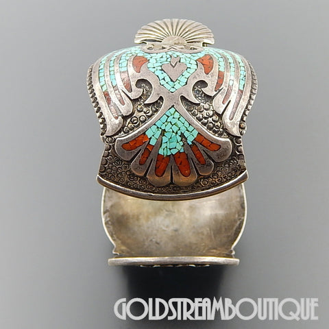 Native American Bill Henkel Navajo 925 Sterling Silver Turquoise Coral Chip Inlay Peyote Bird Watch Cuff Bracelet