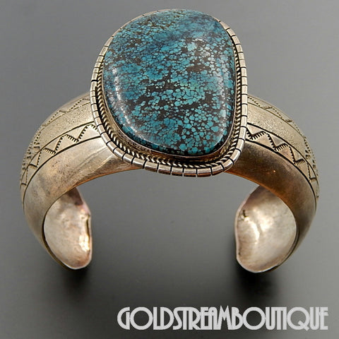 NATIVE AMERICAN ROGER JONES NAVAJO 925 SILVER STAMPED CUFF BRACELET WITH SPIDERWEB TURQUOISE