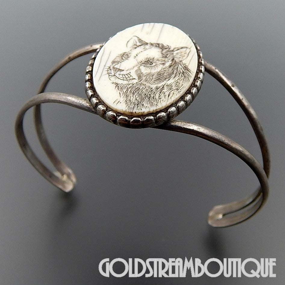 NATIVE AMERICAN NAVAJO STERLING SILVER PANTER SCRIMSHAW ON BONE CUFF BRACELET