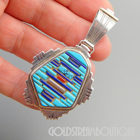 Running Bear Trading Co 925 Sterling Silver Turquoise Lapis Coral Cobblestone Pendant