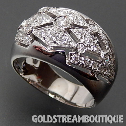 Chimento Italy 18K white gold  1.55 Tcw diamonds wide wedding band ring size 6.75