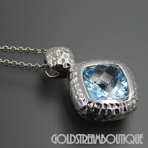 Locman 925 silver faceted blue topaz hammered slide pendant with chain 18""