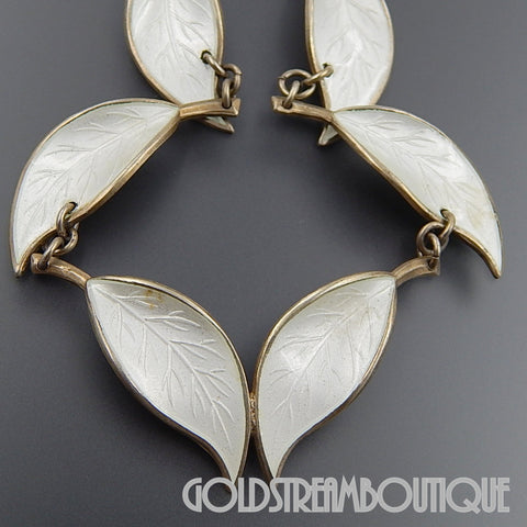 1950's David Andersen Willy Winnaess Norway sterling silver white guilloche enamel foliate necklace