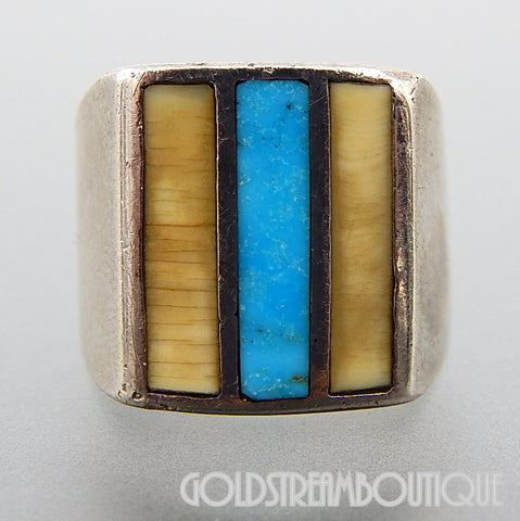 Native American Navajo Sterling Silver Turquoise Bone Inlay Ring size 6.75