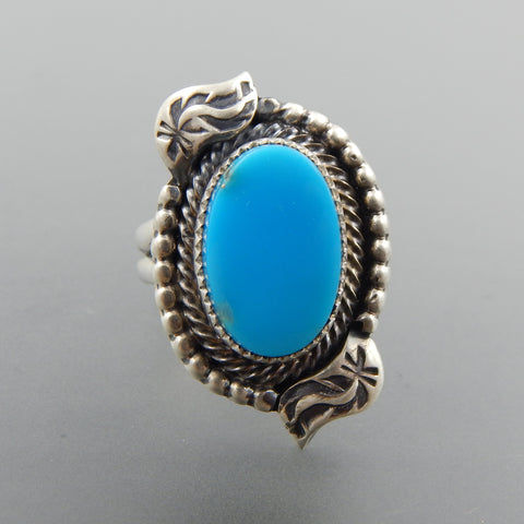 Handcrafted sterling silver  sleeping beauty turquoise feather beaded  ring size 8.25