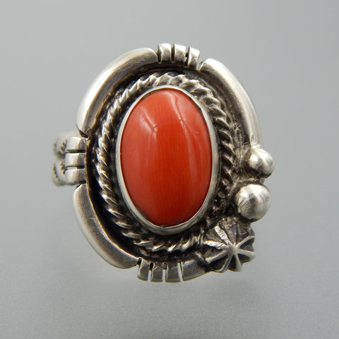 Handcrafted sterling silver oval coral delicate ring size 8.5