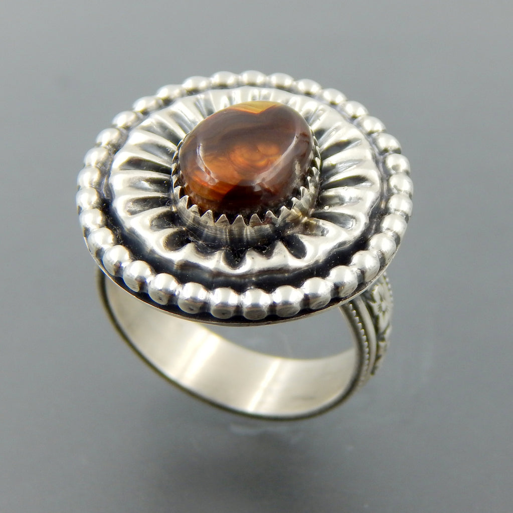 Handcrafted sterling silver oval fire agate fluted beaded ring size 7.75